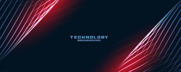 Fondo de partículas de líneas de tecnología con estilo