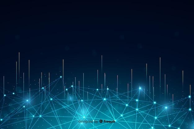 Fondo de partículas de tecnología abstracta con líneas