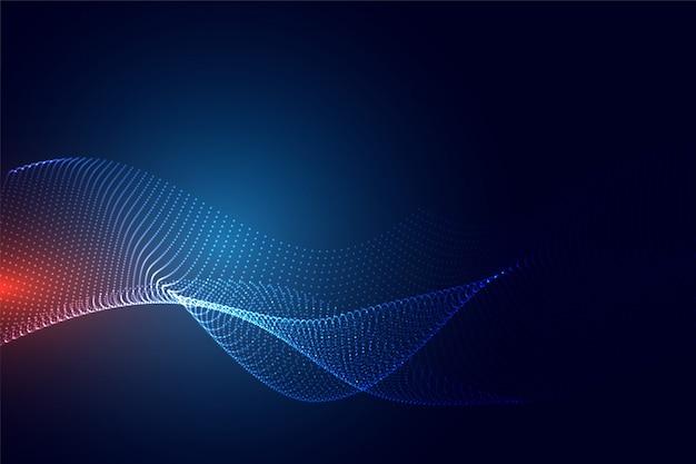 Fondo de partículas de tecnología azul