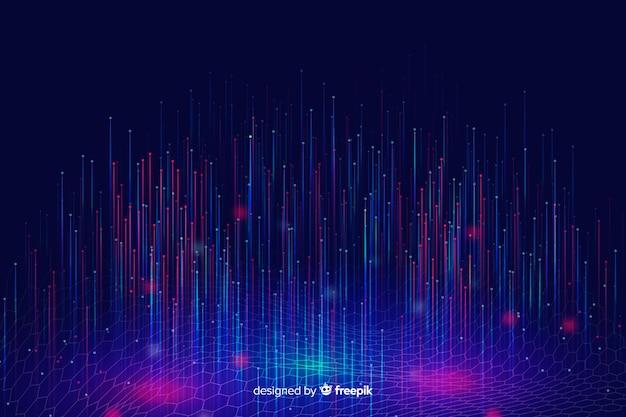 Fondo de partículas tecnológicas brillantes cayendo