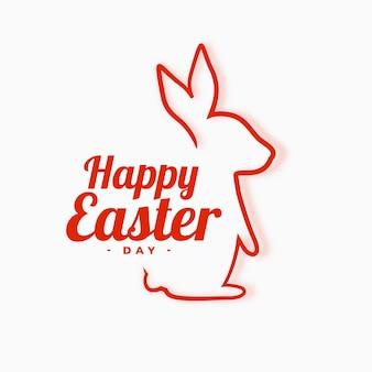 Fondo de pascua feliz con ilustración de línea de conejo