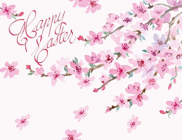 Fondo de pascua con rama de cerezo en flor de acuarela. ilustración vectorial