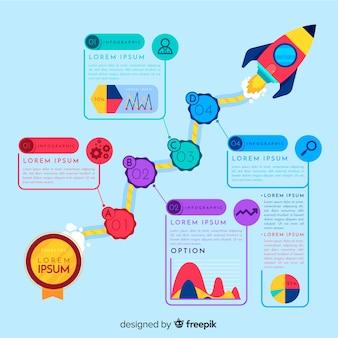 Fondo pasos infografía cohete