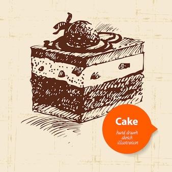 Fondo de pastel dulce vintage con burbuja de color. ilustración dibujada a mano
