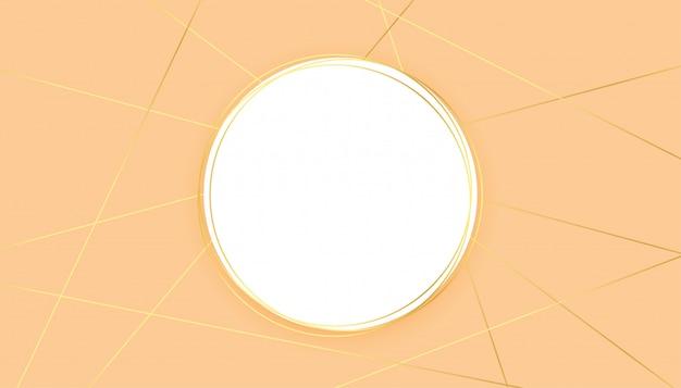 Fondo pastel moderno con formas de líneas doradas y marco de círculo
