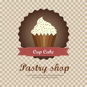 Fondo de pastelería con ilustración de vector de pastel de taza