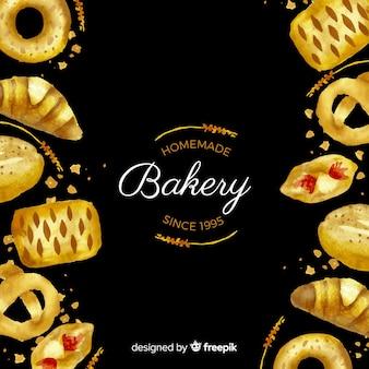 Fondo pasteles y pan acuarela
