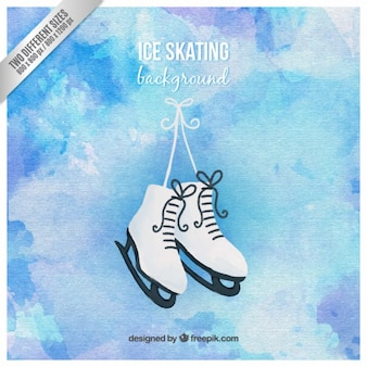 Fondo de patinaje sobre hielo pintado a mano