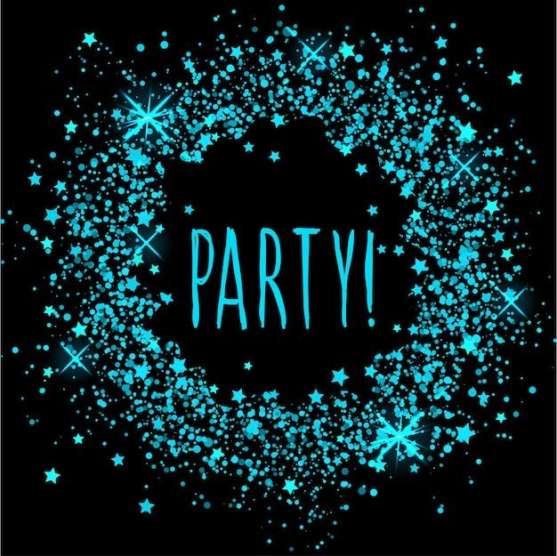 Fondo de patrón abstracto de círculo rociado brillante y texto de fiesta escrito a mano.