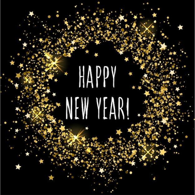 Fondo de patrón abstracto de círculo rociado de oro y texto de año nuevo escrito a mano. decoración festiva para tarjeta de diseño, invitación de fiesta pop moderna, camiseta, cartel de año nuevo, folleto, álbum, álbum de recortes, etc.