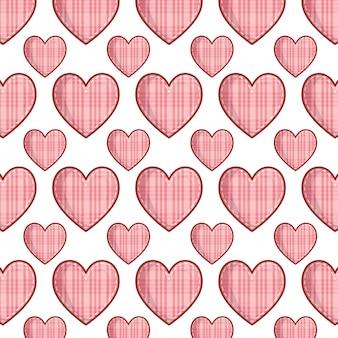 Fondo de patrón de amor de corazones a cuadros