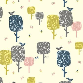 Fondo de patrón de árbol dibujado a mano