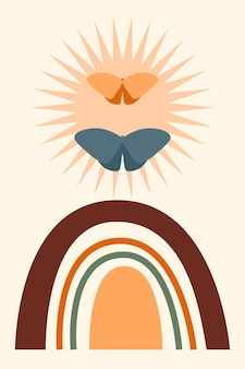 Fondo de patrón de arco iris. dibujos animados arco iris arco boho impresión minimalista para diseño de invitación de baby shower, etiqueta de tienda para niños, camiseta de niña, etc.