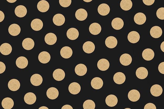 Fondo de patrón brillante lunares oro y negro