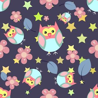 Fondo con patrón de búhos y estrellas