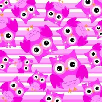 Fondo con patrón de búhos rosas