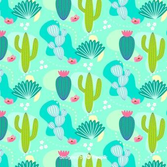 Fondo patrón cactus dibujado a mano