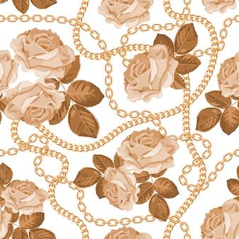 Fondo de patrón con cadenas de oro y rosas de color beige