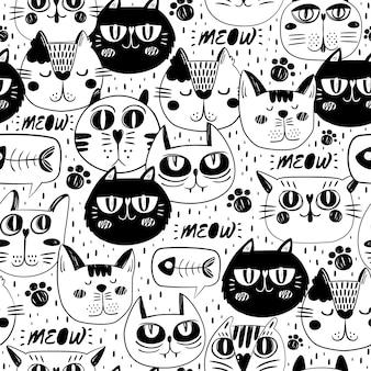 Fondo con patrón de caras de gato