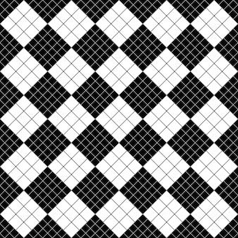 Fondo de patrón cuadrado diagonal blanco y negro