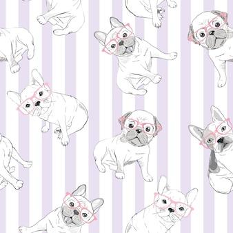 Fondo de patrón de diseño de personajes de bulldog cabeza