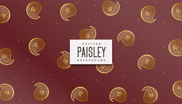 Fondo de patrón dorado paisley real indio