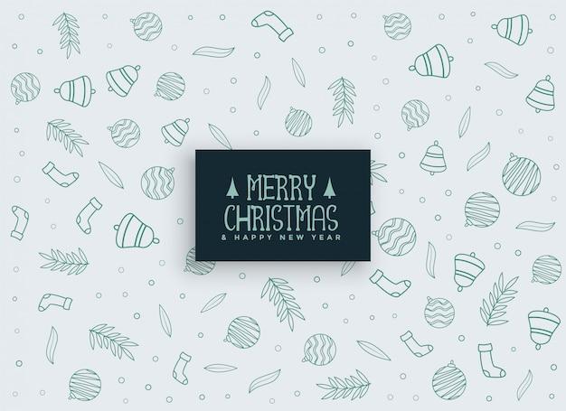 Fondo de patrón de elementos de feliz navidad