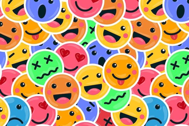 Fondo de patrón de emoticonos de sonrisa colorida
