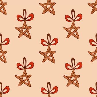 Fondo de patrón de estrella de madera de árbol de navidad publicación de redes sociales decoración navideña vector illust