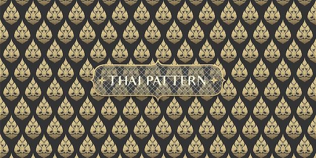 Fondo de patrón de flor tailandés negro y dorado dibujado a mano tradicional abstracto