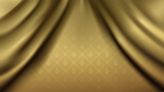 Fondo de patrón de flora tailandesa dorada de conexión tradicional en cortina de tela de seda