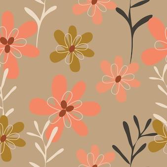 Fondo de patrón floral dibujado mano lindo inconsútil
