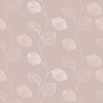 Fondo de patrón floral dibujado a mano línea de rama