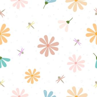 Fondo de patrón floral dibujado a mano pastel lindo transparente