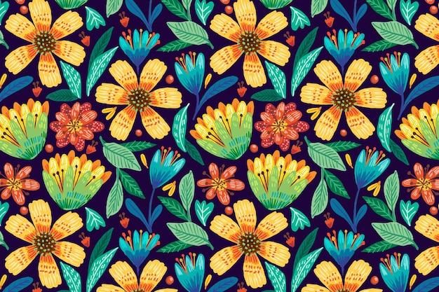 Fondo de patrón floral exótico colorido dibujado a mano