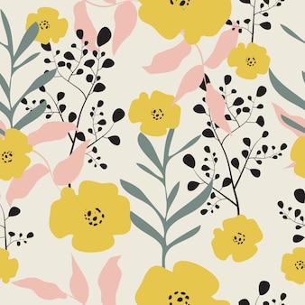 Fondo de patrón floral pastel dibujado a mano transparente