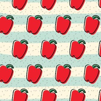 Fondo de patrón de fruta de pimentón pimiento rojo