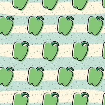 Fondo de patrón de fruta de pimentón pimiento verde