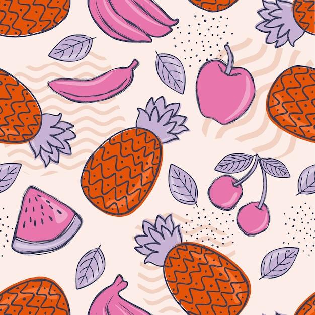 Fondo de patrón frutal colorido creativo.