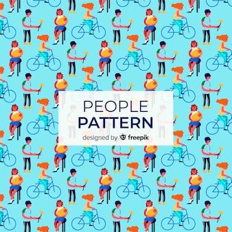 Fondo patrón gente con bicicletas dibujada a mano