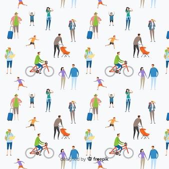 Fondo patrón gente dibujada a mano