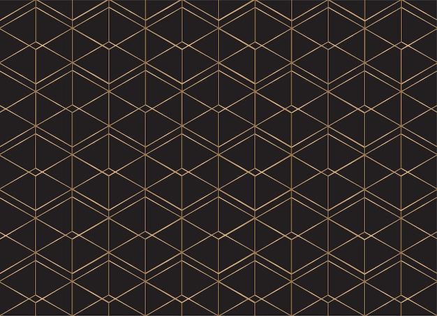 Fondo de patrón geométrico líneas doradas