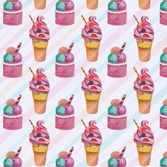 Fondo con patrón de helados deliciosos