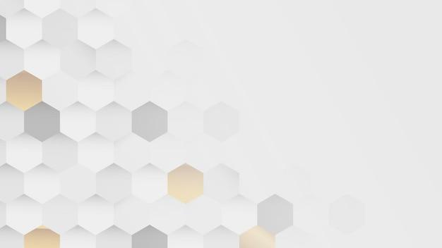 Fondo de patrón hexagonal blanco y dorado