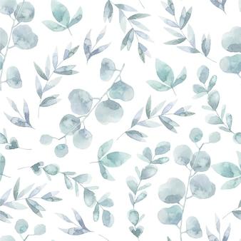 Fondo con patrón de hojas en acuarela