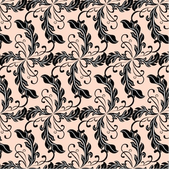 Fondo con patrón de hojas negras