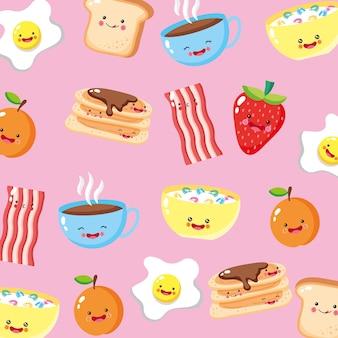 Fondo de patrón de iconos de desayuno lindo y divertido