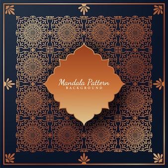 Fondo de patrón de mandala de lujo con adornos arabescos dorados estilo árabe islámico oriental