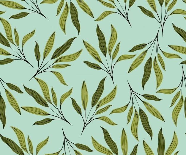 Fondo de patrón natural de hojas verdes