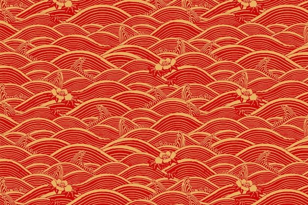 Fondo de patrón de onda de arte chino de oro rojo